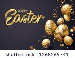 falling golden easter egg and... | Shutterstock .eps vector #1268269741