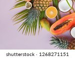 different tropic fruits and... | Shutterstock . vector #1268271151
