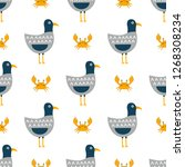 funny seagulls in a flat style  ... | Shutterstock .eps vector #1268308234