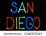 light painting. city name. san... | Shutterstock . vector #1268323261