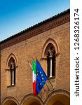 italy and the eu flag in... | Shutterstock . vector #1268326174