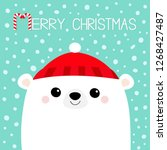 polar white bear cub face. red... | Shutterstock .eps vector #1268427487