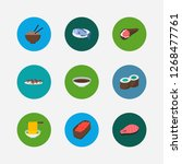 sushi icons set. gunkan and...