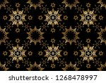 golden pattern on yellow colors ... | Shutterstock . vector #1268478997