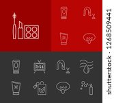 cosmetology icons set with ad...