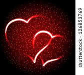 two glowing heart on red for... | Shutterstock .eps vector #126853769