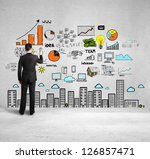 businessman drawing colorized... | Shutterstock . vector #126857471