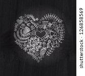 heart shape chalk drawing on... | Shutterstock . vector #126858569