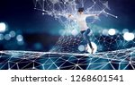 experiencing virtual technology ... | Shutterstock . vector #1268601541