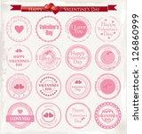 set of vintage valentine's day... | Shutterstock .eps vector #126860999