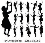 dancing girls silhouette  vector | Shutterstock .eps vector #126865151