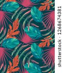 seamless tropical leaves... | Shutterstock . vector #1268674381