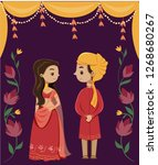 cute indian couple in... | Shutterstock .eps vector #1268680267