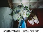 beautiful shoes of the bride.... | Shutterstock . vector #1268701234