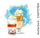 coffee drinks watercolor...   Shutterstock . vector #1268707804