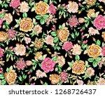 watercolor rose flower pattern... | Shutterstock . vector #1268726437