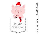 merry christmas. pig face head...   Shutterstock .eps vector #1268730601