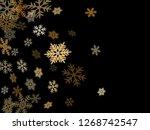 winter snowflakes border trendy ... | Shutterstock .eps vector #1268742547
