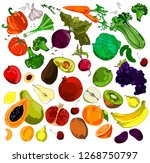 colored doodle fruits and... | Shutterstock .eps vector #1268750797
