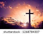 christ jesus concept  cross in... | Shutterstock . vector #1268784307