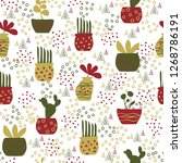 vector jungle pattern in flower ... | Shutterstock .eps vector #1268786191