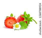strawberries low poly. fresh ... | Shutterstock . vector #1268788924