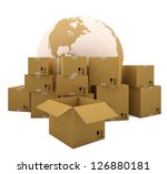 cardboard boxes on the... | Shutterstock . vector #126880181