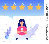girl give positive feedback.... | Shutterstock .eps vector #1268821594