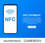 mobile payment. nfc smart phone ... | Shutterstock .eps vector #1268838241