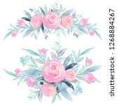 watercolor hand painted floral... | Shutterstock . vector #1268884267