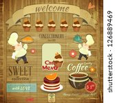 cafe confectionery menu card in ... | Shutterstock .eps vector #126889469