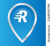 letter r and map pin. logo...