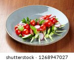 vegetable slices of tomatoes ... | Shutterstock . vector #1268947027