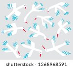 doodle birds stickers .set with ... | Shutterstock .eps vector #1268968591