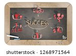 """""""success"""" word with 3d icons on ... 