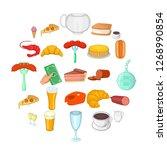 pizzeria icons set. cartoon set ... | Shutterstock . vector #1268990854