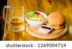 burger with cheese meat and... | Shutterstock . vector #1269004714