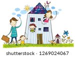 family saying goodbye to each...   Shutterstock .eps vector #1269024067