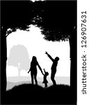 silhouettes of the parents and... | Shutterstock .eps vector #126907631