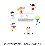 joyful children are bouncing on ... | Shutterstock .eps vector #1269093154