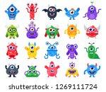 cartoon monster. cute happy...   Shutterstock . vector #1269111724