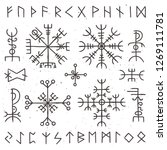 mystical viking runes. ancient... | Shutterstock . vector #1269111781