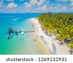 Aerial view on beautiful beach in Trou aux Biches, Mauritius.