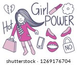 girl power lifestyle doodles  | Shutterstock .eps vector #1269176704