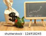 A net worth increase for this statistical data report. - stock photo
