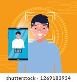 man face scan biometric digital ... | Shutterstock .eps vector #1269183934