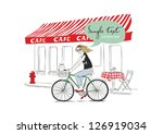 young woman with bicycle | Shutterstock . vector #126919034