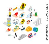 worry icons set. isometric set... | Shutterstock . vector #1269194371