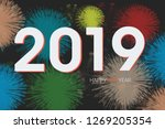 2019 happy new year poster | Shutterstock . vector #1269205354