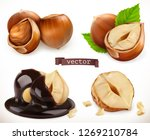 hazelnut. 3d realistic vector...   Shutterstock .eps vector #1269210784